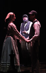 """(L to R) Lauren T. Mack, Bob Amaral and Allen E. Read as Tzeitel, Tevye and Motel in the Music Circus production of """"Fiddler on the Roof"""" at the Wells Fargo Pavilion Aug 14-19. Photo by Charr Crail."""