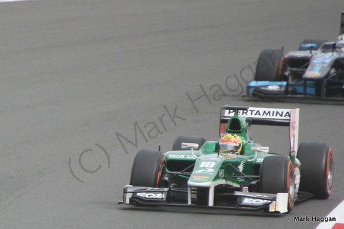 Rio Haryanto in his EQ8 Caterham car in the second GP2 race at the 2014 British Grand Prix