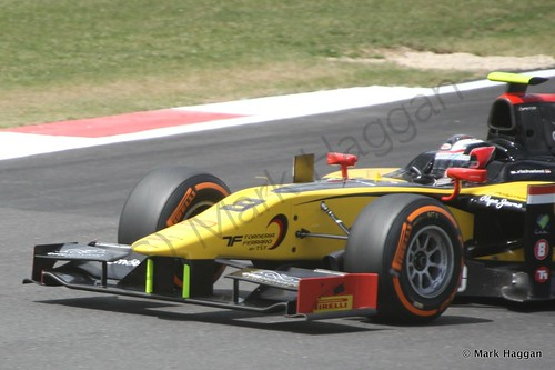 Jolyon Palmer in his DAMS car during GP2 practice at the 2014 British Grand Prix