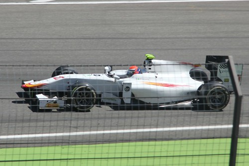 Alexander Rossi in his Campos Racing GP2 car in practice at the 2014 German Grand Prix