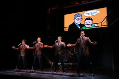 (l to r) Hayden Milanes, Drew Seeley, Nicolas Dromard and Keith Hines in the Broadway Sacramento presentation of JERSEY BOYS at the Community Center Theater Nov. 5 – 22, 2014. Photo by Joan Marcus.