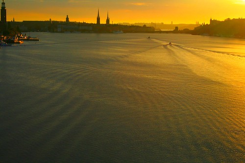Boating into the Stockholm sunrise
