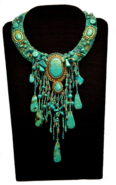 Polymer turquoise necklace grande
