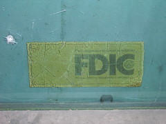 FDIC sticker, former bank drive up, Casa Grande, AZ