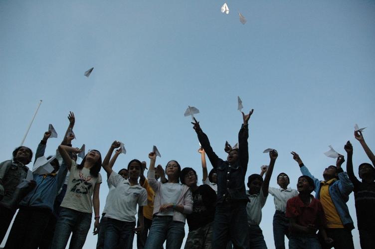 Taking the flight, School children, IWS, Hyderabad, India