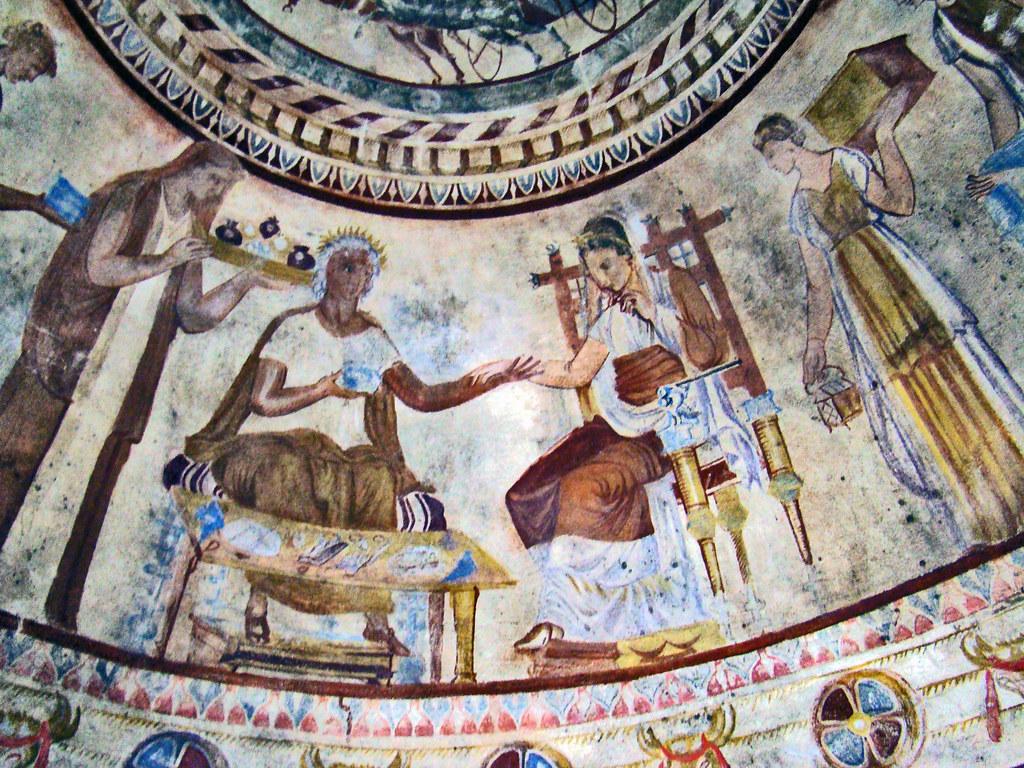 techo Pintura mural al fresco Tumba de Seuthes III en tumulo Golyama Kosmatka Kazanlak Bulgaria 46