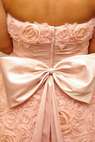 Pink wedding dress close up