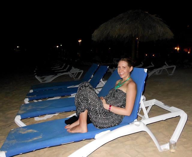 Sitting on a lounge chair in Ocho Rios, Jamaica