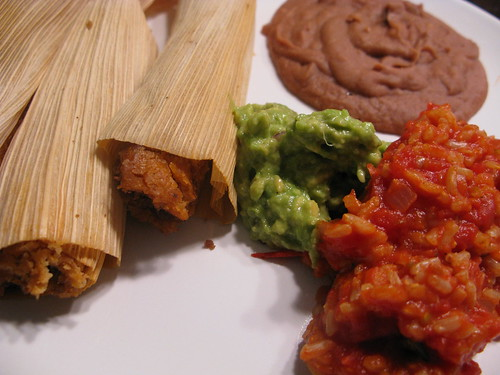 Vegan Tamales with Beans and Rice