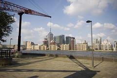 Canary Wharf on a crane