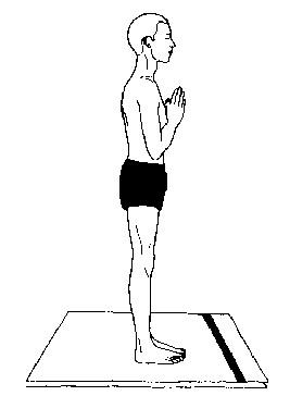 Pranamasan Prayer Pose Surya Asana Step 1