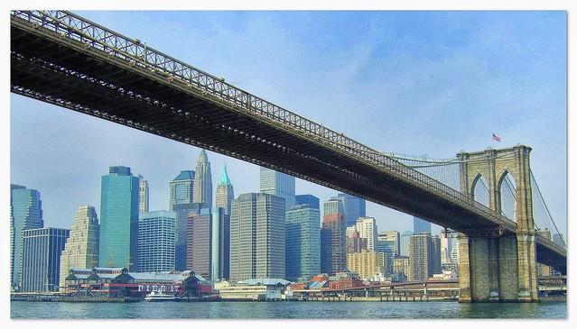 New York skyline under the Brooklyn Bridge