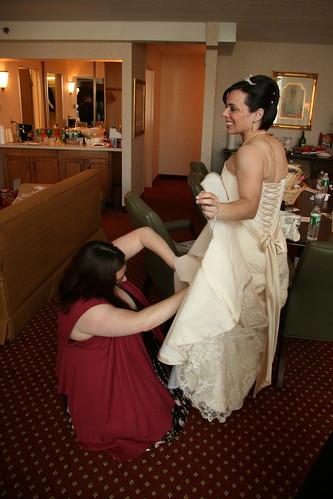 Jen checks Erin's dress