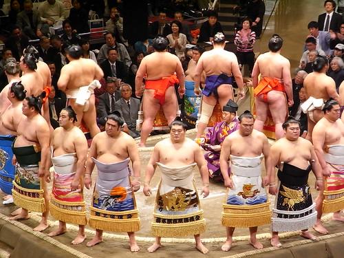 sumo fighters entering  the ring - Tokyo Ryogoku