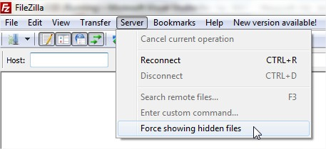 FileZilla force showing hidden files