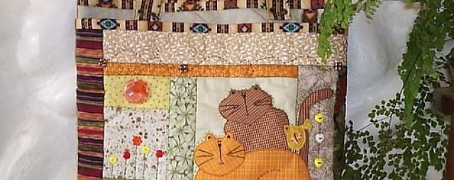 Bolsa patch gatos e passarinho