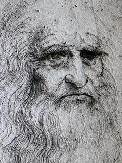 Leonardo da Vinci self portrait, Chambord Castle, Loire Valley, France - The metallic stone effect is generated by computer