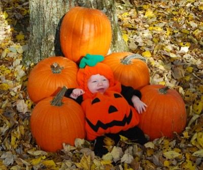 Baby Pumpkin Costume in Pumpkin Patch