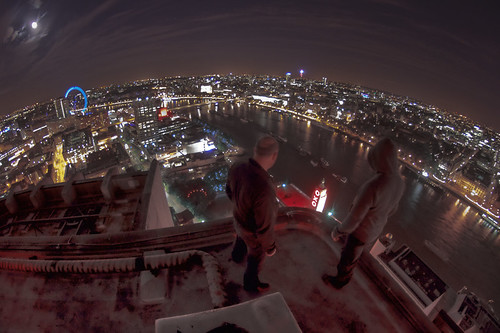 High above the city...
