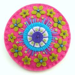 LIME BLOSSOM, ART NOUVEAU INSPIRED FELT FLOWERS BROOCH