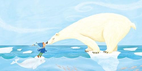 """Eskimo Kiss"" - Interior illustration for Santa Goes Green"
