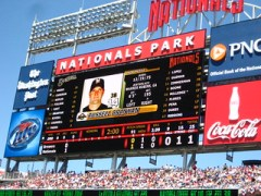 high resolution sports statistics and advertising screen