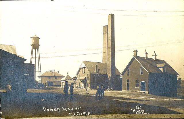 Eloise MI Powerhouse for Eloise Insane Asylum & Poorhouse, Farm & Hospital 1912 RPPC Photographer JH Cave