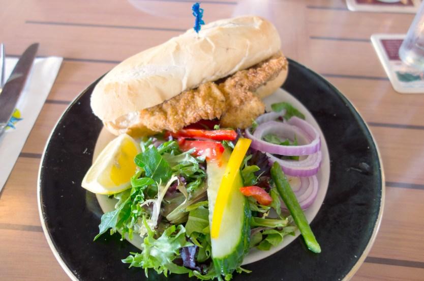 Chicken schnitzel sandwich from Wahoo's.