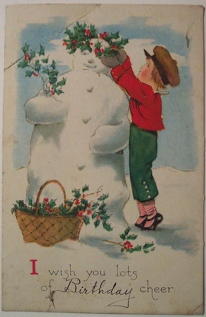 Vintage Christmas Postcard Snowman Flickr Photo Sharing