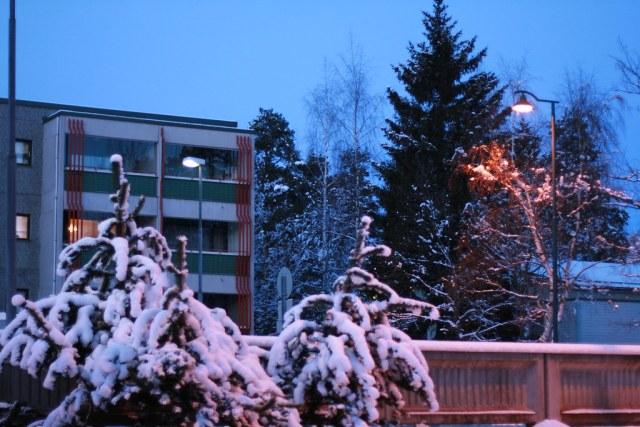 Piinokankatu talvella iltahämärässä