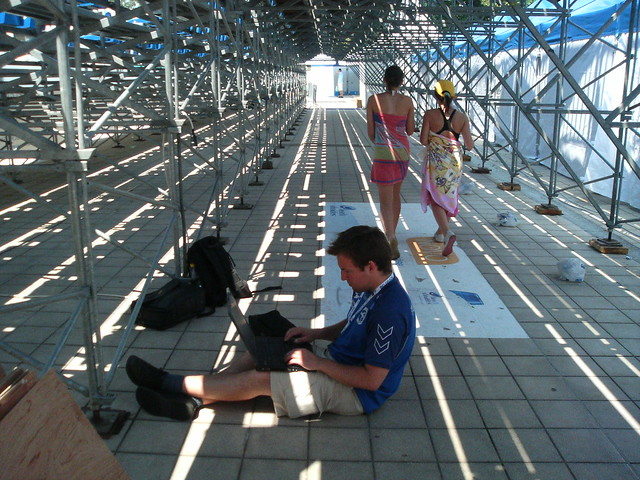 Jón Brian working under the bleachers in Belgrade