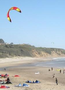 Kite surfers at Waddell Beach, California