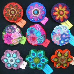 NINE LARGE BROOCHES READY FOR EXHIBITION AT MUSHROOM WORKS, NEWCASTLE
