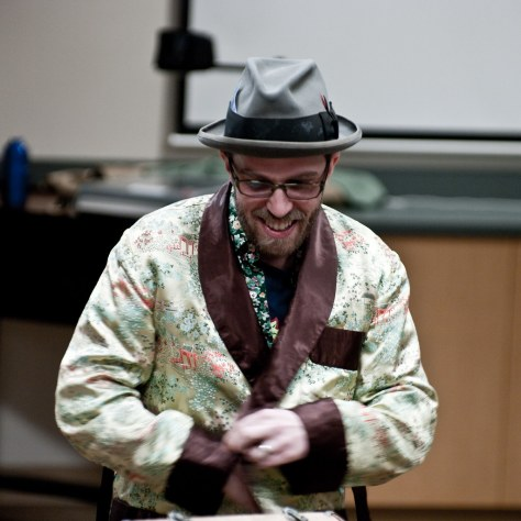Dave and smoking jacket shares stories about Letters from Russia project - photo by Tim Bray via Flickr