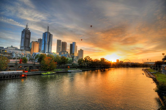 Sunrise over the Yarra river, Melbourne