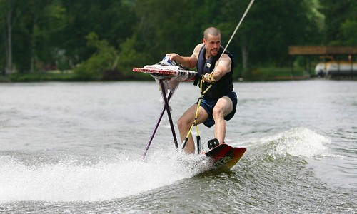 Extreme Ironing while Water Skiing