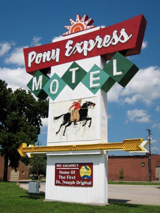 Pony Express Motel sign - Saint Joseph, Missouri U.S.A. - June 21, 2009