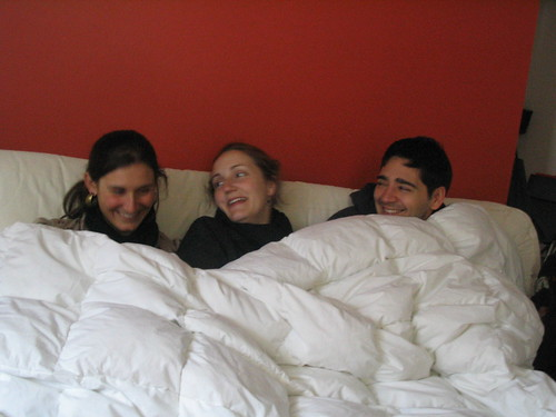 Friends under the down comforter