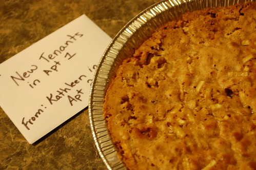 our upstairs neighbor baked us a pie!