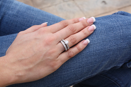 Silver CZ Engagement Ring Set by martyr888