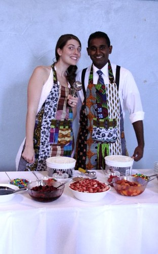 ice cream scoopers in african aprons