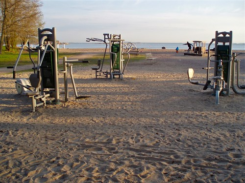 Park gym by the sea on Lauttasaari beach, Helsinki