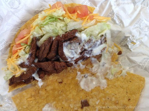 Taco Bell XXL Crispy Steak Taco Closeup