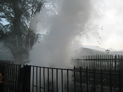 Smoke due to burning of ghee coconut shells