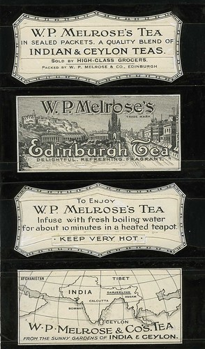 Four black and white labels for Melrose's Edinburgh Tea