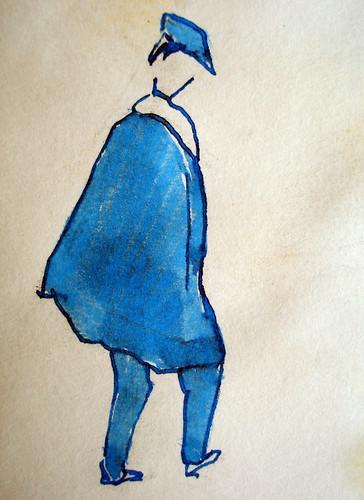 La pélerine bleue (aquarelle)