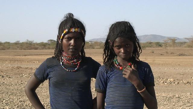 Tribesgirls in the Afar Desert, Ethiopia