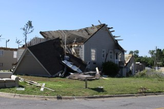 USACE, Roof torn off, house gutted