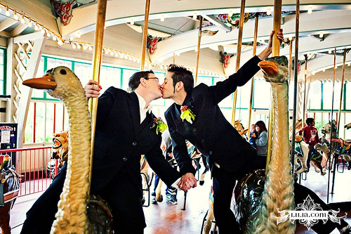 SF Zoo Wedding: Carousel Kiss