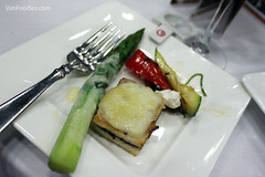 Asparagus with Tarragon Mimosa Foam, Grilled Vegetables, Tapenade Croque-Monsieur